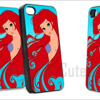 Ariel The Little Mermaid On Tiffany Blue Pretty - Print Hard Case iPhone 4/4s or iPhone 5 Case - Black or White Bumper (Option)