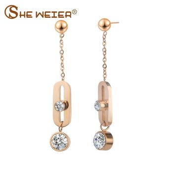 SHE WEIER long earrings 2018 for women brincos earing female bijoux korean fashion hanging zircon earrings hanging errings