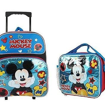 "Disney Mickey Mouse Shine Blue 16"" Large Rolling Backpack with Match Lunch Bag"