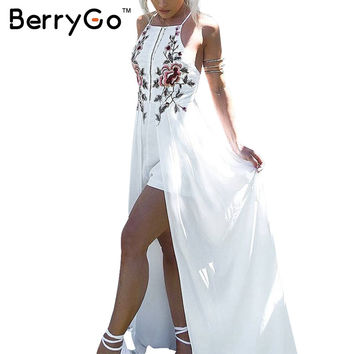 BerryGo Sexy playsuit summer overalls leotard Elegant bodysuit women jumpsuit romper Backless embroidery combishort femme