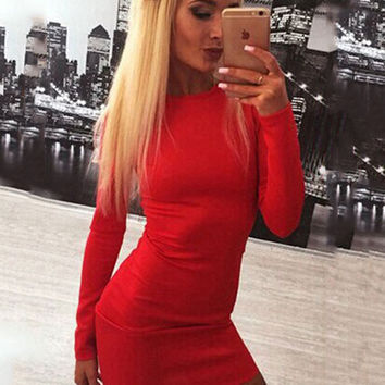 Backless Long Sleeve Zipper Mini Bodycon Dress