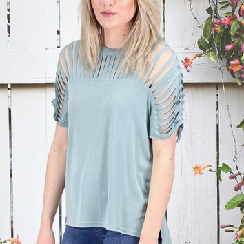 Caged Cut Out Modal Short Sleeve Top {Slate}