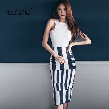 YaLiShi 2 Piece Set Women Suit 2017 New Summer White Knitted Blouse Shirt Tops and Black Striped Pencil Crop Top and Skirt Set