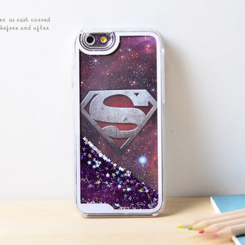 Superman Dynamic Liquid Purple Glitter Sand Quicksand Bling Clear iPhone 6 Plus case Retro flower Phone Case