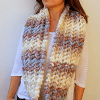 FREE SHIPPING Chunky Thick Scarf Cream Blue Brown Degrade Hand Knit Lace Infinity Scarf
