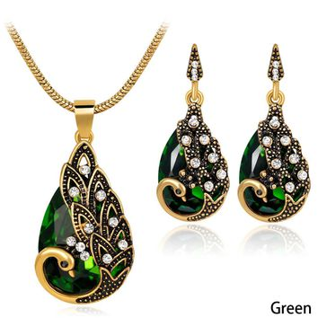 Peacock Jewelry Sets Crystal Necklaces Set Vintage Costume Jewelry Long Pendant Necklace And Earring Bridal Wedding Jewelry Set