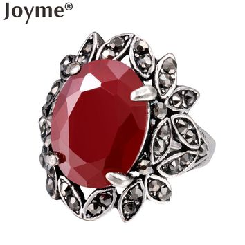 Turkish Jewelry BohoTribal Punk Hollow Out Flower Red Resin Gem Black CZ African Vintage Silver Ring For Women Rings Anel
