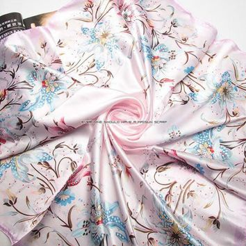 Brand Design Muslim Hijab Headband Bandanas Silk Square Scarf For Women Big Size High Quality Imitated Silk Satin Shawl