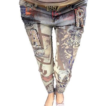 Women Sequined Bronzing Pants Europe Letter Sequins Elastic Slim Ladies Jeans