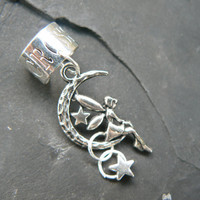 fairy on moon ear cuff star charm silver cross cuff in fantasy hipster boho gypsy  hipster and hippie style