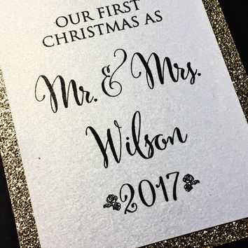 Our First Christmas as Mr and Mrs Ornament - Gold Glitter
