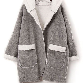Gray Shearling Lining Long Sleeve Hooded Coat