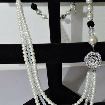 Chunky Necklace Faux Pearl Triple Strand Faceted Crystal Clear Beads Zirconia Accented