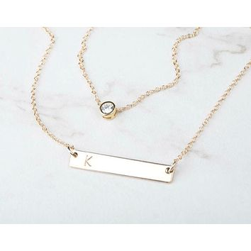 Layered CZ Horizontal Bar Necklace