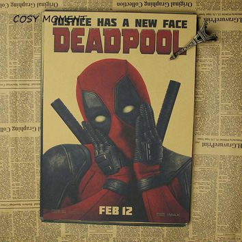 Marvel Movie Dead pool Superhero Poster Vintage Kraft Wall Decorative Ryan Reynolds Movies Poster