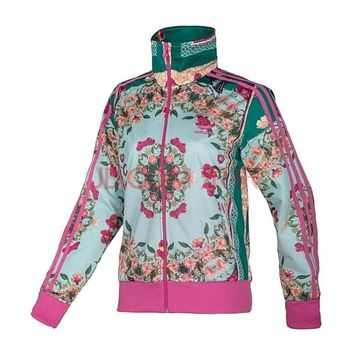 Adidas Women Fashion Print flower Jacket Coat