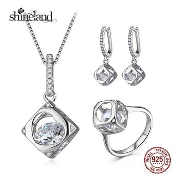 Shineland Fashion Hollow Heart Cube Pendant Necklace/Earring/Ring Sets Luxury 925 Sterling Silver Jewelry Sets For Women Wedding