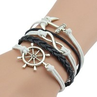 jeansian Women's Ancient Silver Anchors Rudder Multilayer Bracelet WCE035