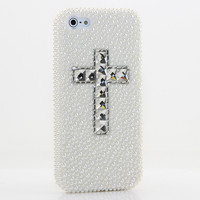 White Pearls with clear Cross Design (style 902)