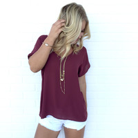 Simple Living Blouse In Wine