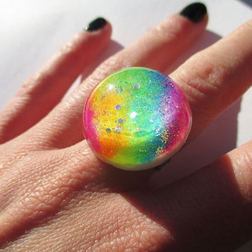 Pastel Rainbow Ring - Holographic Glitter Resin Sparkly Fun Fairy Dust Jewelry