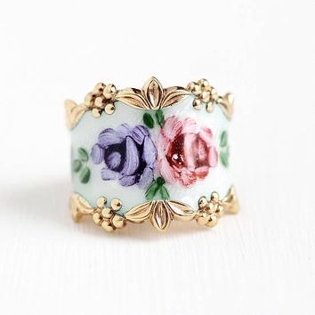 Vintage Flower Band - Gold Washed Sterling Silver White Guilloche Enamel Rose Cigar Ring - Retro Size 5 3/4 Vermeil Vargas Floral Jewelry