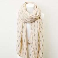 Woven Tribal Print Arrow Abstract Scarf Light Beige BOHO Lightweight Full Simple and Chic An Absolute Must for Fall