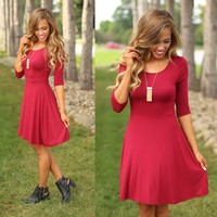 Simply Divine Dress in Burgundy