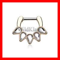 Gold Septum Clicker Sparkle Quinary Spear 16g 14g Septum Ring Cartilage Earrings Nipple Ring Circular Barbell Tragus Jewelry Helix Conch