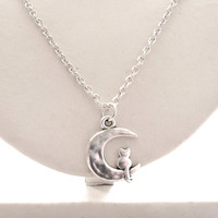 Silver Cat on Moon Charm Necklace - 20 inches - Silver Charm Jewellery