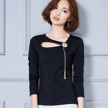 Hollow out Women Tops 2016 New Autumn Korean Chain decoration long sleeve T-shirt Slim Solid color Casual shirt