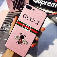 GUCCI Fashion Print Embroidery iPhone Phone Cover Case For iphone 6 6s 6plus 6s-plus 7 7plus Pink
