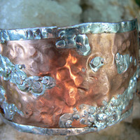 hammered copper cuff bracelet with chains gypsy boho tribal southwestern and native american inspired style