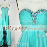2014 HIgh Low Beads Crystal Wedding Dress,Cocktail Dress,Gown,Evening Gown,Prom Dresses,Prom Gown