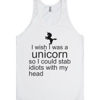 Unicorn Stabbing-Unisex White Tank