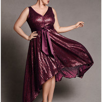Sequin dress with sash by Isabel Toledo | Lane Bryant