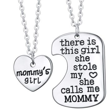 MOMMY'S GIRL Mom's Girls Pendant Necklace Set