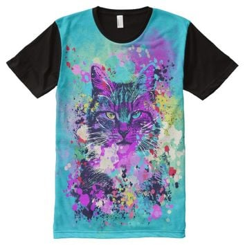 Wild Splash Paint Cat All-Over-Print Shirt