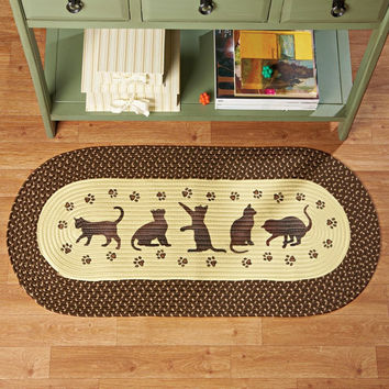 Oval Brown Playing Silhouette Kitties Cats Meow Braided Rug