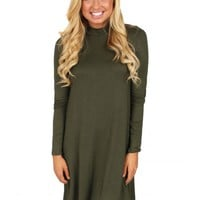 Winter Winds Olive Turtleneck Sweater Dress | Monday Dress Boutique