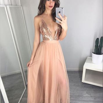 Sexy Net yarn Splicing Sequined Sling Halter Dress Nightclub Dress [10450051919]