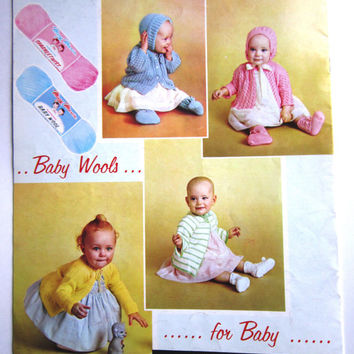 Vintage Knitting Patterns, Mary Maxim Baby Book, Baby Knit Patterns, 1960s Mary Maxim Book, Illustrated Knitting Patterns Full Colour Photos