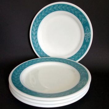 Pyrex Bluegrass Dishes- Set of Four Corning Salad Dessert Snack Side Plates, Laurel Teal & White Grecian Leaf Pattern Milkglass Pyrex