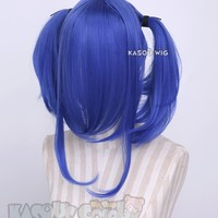 "M-2 / KA050 ┇ 50CM / 19.7"" royal blue pigtails base wig with long bangs."
