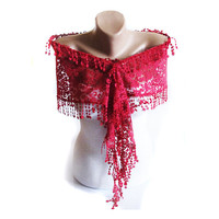 Turkish scarf , red scarf, scarves, Scarf, lace scarf, head scarf, Hijab scarf, Traditional Turkish, Necklace scarves, Shawl