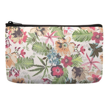 Travel Cosmetic Bag in garden pattern pink and green color travel makeup bag tolietry bags