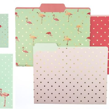 Flamingo Pink Polka Dots Journal, Pocket Note, and File Folder Gift Set