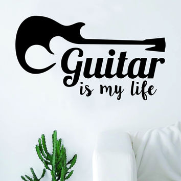 Guitar is My Life Music Quote Art Decal Sticker Wall Vinyl Decor Home Room Teen Electric Acoustic