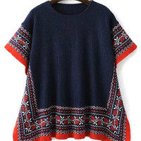 Navy Flok Pattern Knit Cape Jumper