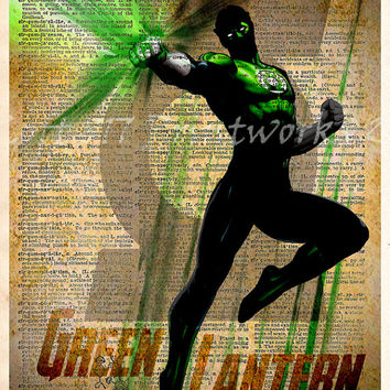 Green Lantern - Vintage Silhouette print  - Cool Super Hero Art - Dictionary print art
